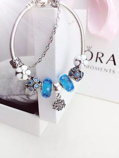 50% OFF!!! $219 Pandora Charm Bracelet Blue White. Hot Sale!!! SKU: CB01714 - PANDORA Bracelet Ideas