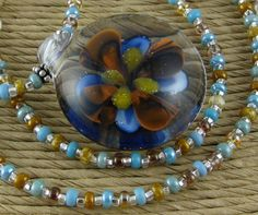 Taos Borosilicate glass pendant and seed bead by OklahomaMama, $22.00