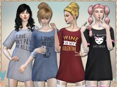 Galentine's Day long shirts by Simlark at TSR • Sims 4 Updates