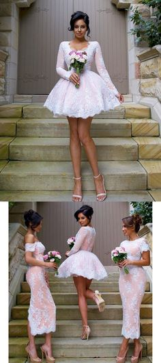 2016 short bridesmaid dresses, short pink lace bridesmaid dresses, long sleeves bridesmaid dresses,wedding party dresses, homecoming dresses