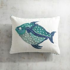 Pier 1 Imports Embroidered & Sequined Fish Pillow