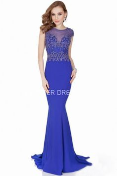 $138.29-Elegant Mermaid Beaded Scoop Neck Cap Sleeve Jersey Sheath Blue Evening Gown with Illusion Back. http://www.ucenterdress.com/mermaid-beaded-scoop-neck-cap-sleeve-jersey-prom-dress-with-brush-train-pMK_302103.html.  Shop for affordable evening gowns, prom dresses, white dresses, party dresses for women, little black dresses, long dresses, casual dresses, designer dresses, occasion dresses, formal gowns, cocktail dresses . We have great 2016 Evening Gowns on sale now. #evening #gowns