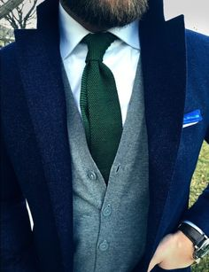 Jason Yeats, dressed up, suit, green wool tie, navy coat, grey cardigan