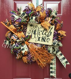 Halloween Wreath - Witch Wreath - Witch Is In Wreath - Halloween Deco Mesh… Halloween Deco Mesh, Halloween Ribbon, Halloween Trees, Fall Halloween, Halloween Crafts, Halloween Decorations, Halloween Sewing, Wreaths And Garlands, Deco Mesh Wreaths