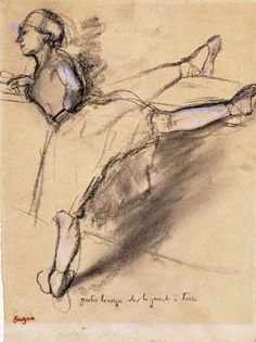 Edgar Degas Dancer Exercising at the Barre ca. 1885 charchoal heightened with white on paper, ca. 48 x 61 cm.