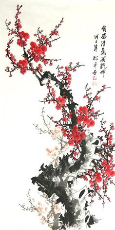 Chinese Plum Blossom x x Painting. Buy it online from InkDance Chinese Painting Gallery, based in China, and save Cherry Blossom Art, Chinese Blossom, Japon Illustration, Botanical Illustration, Chinese Flowers, Chinese Painting Flowers, Paintings Of Flowers, Chinese Drawings, Art Asiatique