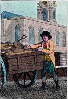 """""""Itinerant Traders of London in their Ordinary Costume with Notices of Remarkable Places given in the Background"""" by William Marshall Craig (1804): """"Sand O! – Sand is an article of general use in London, principally for cleaning kitchen utensils. Its greatest consumption is in the outskirts of the metropolis where the cleanly housewife strews sand plentifully over the floor to guard her newly scoured boards from dirty footsteps, a carpet of small expense and easy to be renewed."""""""