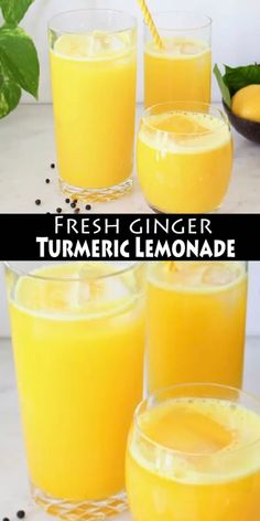 Fresh ginger turmeric lemonade recipe made whole foods: fresh ginger and turmeric root and a touch of black peppercorns to boost the absorption of curcumin and stimulate the taste buds. #BestNutritionFood Healthy Juice Recipes, Juicer Recipes, Healthy Juices, Healthy Smoothies, Healthy Drinks, Whole Food Recipes, Vegan Recipes, Detox Drinks, Detox Juices