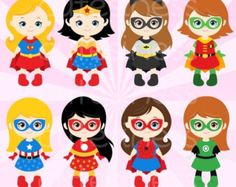 50% DISCOUNT SALE Superhero Digital Clipart by Cutesiness on Etsy