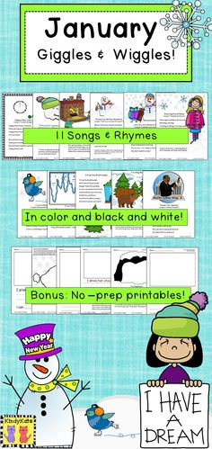 January Wiggles and Giggles features a blizzard of original songs, fingerplays, and poems that will help get those wiggles out during this post-holiday month! TpT$