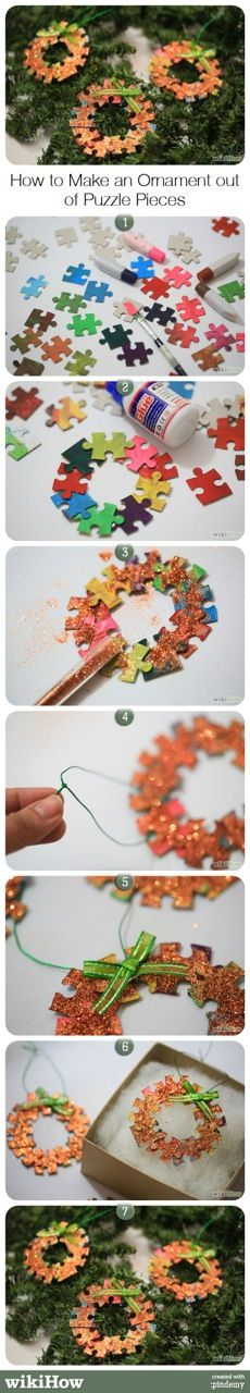 How to Make an Ornament out of Puzzle Pieces. This would be nice to do if you had a puzzle with missing pieces Christmas Makes, Christmas Crafts For Kids, Holiday Crafts, Fun Crafts, Christmas Holidays, Christmas Decorations, Xmas, Christmas Ornaments, Puzzle Piece Crafts
