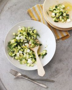 Zucchini Salad - 1 medium zucchini, trimmed and cut into 1/2-inch cubes, 3/4 cup crumbled feta cheese (3 ounces), 3 tablespoons extra-virgin olive oil, 2 tablespoons small dill sprigs, Thin strips lemon zest, plus 1 tablespoon plus 1 teaspoon fresh lemon juice.  Toss together zucchini, cheese, oil, dill, and lemon juice. Season with salt and pepper. Sprinkle with lemon zest.