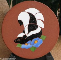 Stained glass garden art stepping stone. Selling on ebay.