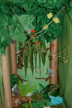 Rainforest dioramas are often made from an old shoe box to start ...