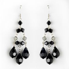 Black Crystal Chandelier Wedding Earrings