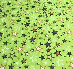 Halloween Fabric, Star Fabric, Faboolous Fun, Lime, Stars, Glow in the Dark Halloween Fabric, Charmed Stars Lime, by Kanvas Studios, 8981-44 by AnnikasArts on Etsy Halloween Fabric, Halloween Fun, Craft Fair Table, Cut Out Letters, Fabric Stars, How To Make Banners, Order Up, Star Designs, Sewing Notions