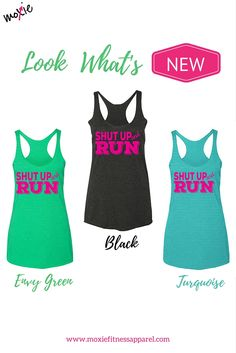 We can whine about it, we can complain about it, or we can just shut up & RUN!! Seriously though...running sucks sometimes, but don't we feel better when we just get it DONE??? This adorably bright shirt will give you that push you need to lace up your shoes and get out the door. Just shut up & RUN, ladies wink emoticon #NewReleaseTank comes in 3 colors. Grab yours now! www.moxiefitnessapparel.com