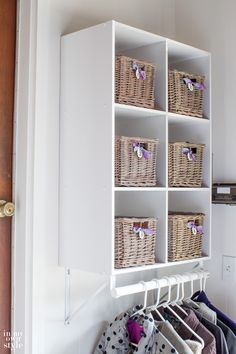 ClosetMaid Cubeical organizer hack. All you need is a wall to create a mini mudroom in your home or garage. | In My Own Style
