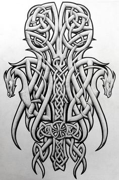 Celtic dragons and cross by Tattoo-Design.deviantart.com on @DeviantArt