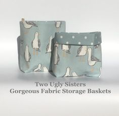 Your place to buy and sell all things handmade Duck Egg Blue Fabric, Grey Tote Bags, Fabric Storage Baskets, Owl Bags, Grey Room, Gorgeous Fabrics, Colour Palettes, Pet Gifts, Bathroom Storage