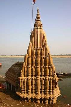 Submerged~ Shiva Temple, Scindia Ghat in Varanasi, India.