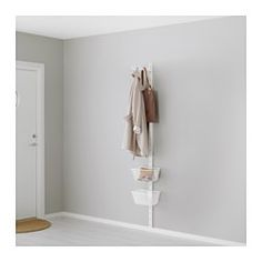 ALGOT, Wall upright, basket and hook, white