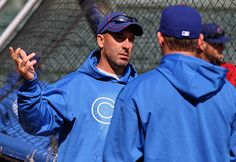 CHICAGO, IL - APRIL 05: Manager Dale Sveum of the Chicago Cubs talks to a player during batting practice before the opening day game against the Washington Nationals at Wrigley Field on April 5, 2012 in Chicago, Illinois. (Photo by Jonathan Daniel/Getty Images)
