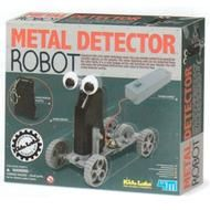 This metal robot detects other metal friends.