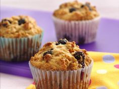 Yogurt, cereal and berries stir up into the best bran muffins.