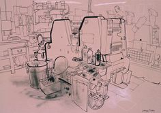 lucinda rogers drawing ink black and white princelet street printers spitalfields workshop london city life
