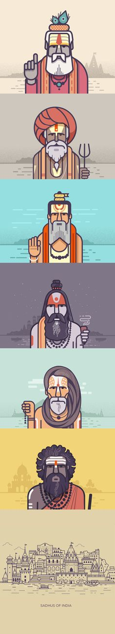 Illustration - illustration - Sadhus of India on Behance. illustration : – Picture : – Description Sadhus of India on Behance -Read More – Illustration Design Graphique, Art Graphique, Flat Illustration, Character Illustration, Digital Illustration, Typographie Logo, Design Typography, Photocollage, Illustrations And Posters