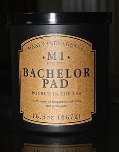 BACHELOR PAD  Manly Indulgence 16.5oz Candles Man Candles Cologne 1 wick BLACK  #MVPGROUPINTERNATIONAL