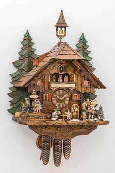 Original Handcrafted Black Forest clock - Chalet Style - Octoberfest - 8 Day mechanic movement - Moving: waterwheel, dancing couples - Moving Cuckoo Bird with song ( alternating song ) - Woode Cuckoo Clocks For Sale, Coo Coo Clock, Beer Maid, Chalet Style, Cool Clocks, Roof Styles, Wooden Bird, Beer Gifts, Antique Clocks