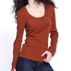 Knit Lantern Sleeve Wool Cashmere Sweater