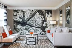 Designer: Lynne Lawson & Laura Gonzales, Columbia, MD A contemporary living room with striking orange accents has been given a focal point by the addition of a large photograph wall mural. The gray patterned carpet and striped curtains coordinate with the monochromatic wall mural.