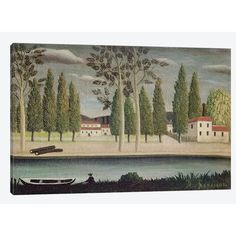"East Urban Home 'By the River, c.1890' by Henri Rousseau Painting Print on Wrapped Canvas Size: 40"" H x 60"" W x 1.5"" D"