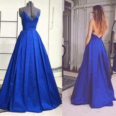 Custom Made Backless Royal Blue A-line Straps F;oor Length Graduation Dress Prom Dress Evening Dress