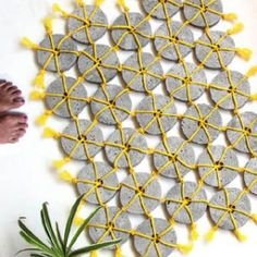 Make a unique and beautiful woven concrete doormat using simple tools & materials. The geometric design offers lots of creative variations to play with! - A Piece Of Rainbow