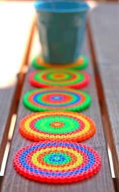 lovely perler beads coasters