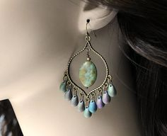 Iris Glass Chandelier Earrings, Green Purple Bohemian Hoops, Large Boho Dangles,Boho Chic Jewelry, Gypsy Jewelry on Etsy, $20.00