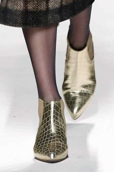 These golden crocodile boots stole the show for #AW14 at maxmara #MFW