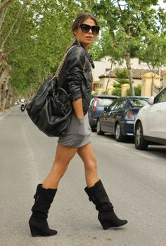 Cute jersey dress and wedge boots. 27 Amazing Street Style Inspiration