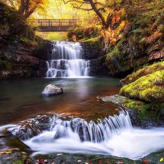 """connor-burrows: """" Sgydau Sychryd Waterfall, Pontneddfechan, Brecon Beacons, Wales by JoeDanielPrice """" Best Of Wales, Brecon Beacons, South Wales, Wales Uk, Beautiful Waterfalls, Nature Photos, Water Features, Places To See, Landscape Photography"""