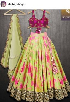 Lehanga set tie and dye ,fabric silk duptta, blouse order customize buy for contact on whats app ,look mom and kids Half Saree Designs, Choli Designs, Lehenga Designs, Garba Dress, Lehnga Dress, Garba Chaniya Choli, Half Saree Lehenga, Indian Lehenga, Anarkali