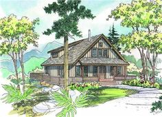 The Arden home plan is a great two story, cabin style house plan with 1749 total living square feet. Designed as a vacation retreat, this cabin home plan has a small footprint and blends easily into a natural setting. Its covered porch and deck offer plenty of outdoor living space as well, spanning the front and one full side. A lofty vaulted ceiling expands the great room, nook and kitchen, and the loft is vaulted as well.