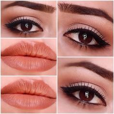 natural look with coral lips and cateye #pretty #makeup #beauty #eyemakeup - bellashoot.com