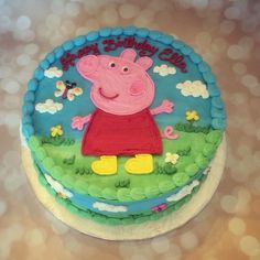 "Peppa Pig cake- this cake is made with dairy free ""butter"" cream icing (no…"