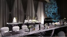 Toronto Wedding Decorations Custom Modern Backdrop and Head Table Draping Design by Mapleleaf Decorations in colour PEWTER Silver DARK GREY . Head Table Decor, Cake Table Decorations, Backdrop Decorations, Centerpiece Ideas, Bling Wedding Decorations, Pewter Wedding, Reception Backdrop, Head Table Wedding, Rental Decorating