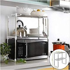 Compare Discount Adjustable Stainless Steel Microwave Oven Shelf Detachable Rack Kitchen Tableware Shelves Home Storage Rack cocina holder Stainless Kitchen, Microwave Oven Shelf, Steel Shelf, Stainless Steel Oven, Kitchen Storage Rack, Microwave Stand, Oven Racks, Kitchen Accessories Decor, Kitchen Storage