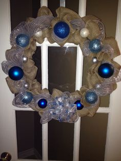 Blue & Silver Burlap Christmas Wreath